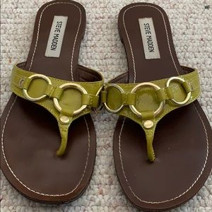 Steve Madden green and gold sandals